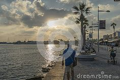 Boulevard with hotels and restaurants in Pafos . Cyprus. Southern, Greek part of Cyprus. Night photography.
