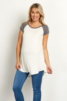 Charcoal-Colorblock-Cuffed-Short-Sleeve-Top