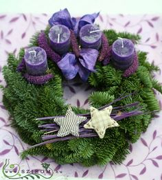 Purple Candles Add to the Holiday Feel How To Make Something, Purple Candles, Christmas Crafts, Xmas, Advent Wreath, Ikebana, Homemade Gifts, Craft Projects, Diy Crafts