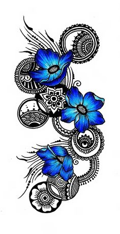 gorgeous doodle in black with circles ... and three bright blue flowers ... beautiful and dramatic ...