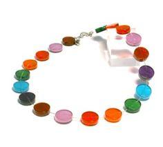 Multi coloured Resin disc Necklace 4475MI