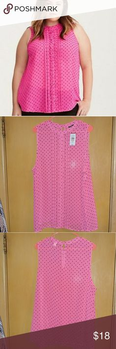 NWT Torrid Pink Polka Dot Shirt Torrid NWT never worn sleeveless pink chiffon shirt. Front has ruffles going down, back has button key hole. Beautiful, but just not my style! torrid Tops Blouses