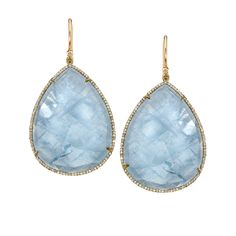 Yellow Gold, Aquamarine and Diamond Pave Earrings