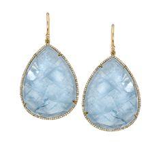 Irene Neuwirth Gold, Aquamarine Pave Earrings