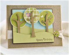 Trendy Tree Tops Birthday Card by Debbie Olson for Papertrey Ink (April Birthday Tree, Birthday Cards, Happy Birthday, Birthday Ideas, Silhouette Cameo, Trendy Tree, Love Cards, Fun Cards, Card Making Inspiration