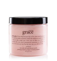 My Sunday routine...scrub all over dry skin to encourage blood circulation and exfoliate, all while smelling the light feminine florals of the Amazing Grace scent. Leaves your skin irresistibly soft and glowing.
