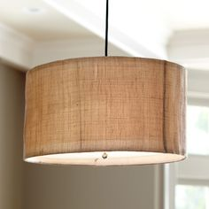 Natural Woven 3-Light Pendant - burlap/jute look. Another option for banquette seats ( maybe in bar)