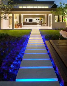 landscape lighting design Nothing refreshes the appearance of your house like new outdoor lighting fixtures. Your backyard deck lights can be completed in many means. Stair Lighting, Backyard Lighting, Outdoor Lighting, Indirect Lighting, Garden Lighting Ideas, Pathway Lighting, Modern Lighting, Outside Stairs, Outdoor Stairs