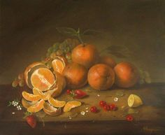 JEANNE ILLENYE - Still Lifes: old world style classical oranges still life oil p...