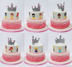 Ombre Ruffled Princess Cake - a view around the cake - Belle, Snow White, Tiana, Cinderella, Rupunzel, and Ariel