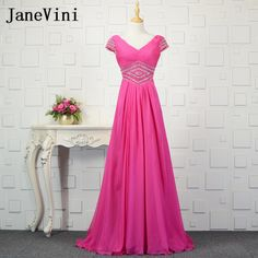 JaneVini Shiny Beads Fuchsia Bridesmaids Dresses Long Chiffon Cap Sleeve Formal  Dresses for Bridesmaid Women Wedding e408e7b0eed0