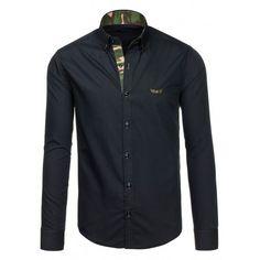 Pánska čierna košeľa s maskačovým lemovaním - fashionday.eu Denim Button Up, Button Up Shirts, Suits, Nike, Jackets, Tops, Women, Fashion, Down Jackets