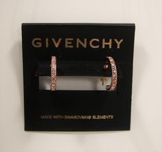 Givenchy Legacy Swarovski Crystal Pave' Hoop Rose Gold Tone Earrings MSRP $35...Only$29.99 with free shipping!  #Givenchy #Hoop