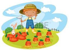 farmer: illustration of a boy working in farms