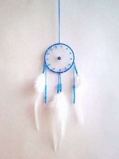 Small handmade dreamcatcher with blue hoop and white feathers Blue and White handmade wall hanging home decor, Bedroom decoration  Dreamcathcer is made