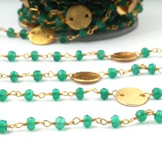 Listing For 5 Feet Green Onyx Rosary Beaded Chain 3-4MM Gold Plated