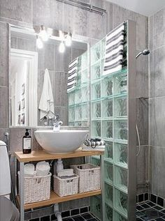glass brick wall is a fantastic idea Bathroom Interior Design, Home Interior, Modern Bathroom, Small Bathroom, Bathroom Ideas, Glass Block Shower, Bathroom Organisation, Bath Remodel, Bathroom Renovations
