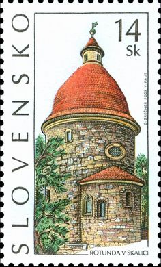Slovakia Stamp - Rotunda of St. George, Skalica - one of the most beautiful and precious Romanesque buildings in Slovakia situated on a hill of an ancient Slavonic fortress. Postage Stamp Art, Going Postal, Saint George, Stamp Collecting, Mail Art, My Stamp, Colorful Backgrounds, History, World