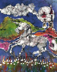 Unicorn Canters Below Castle  batik print from by amityfarmbatik