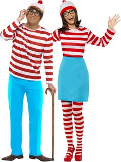 Where is Wally™ ? costume for couple: Where is wally? costume for women: This official women's Where's Wally?™ costume comes with a red and white stripy top with long elasticated sleeves to adapt to your figure. World Book Day Outfits, World Book Day Costumes, Book Week Costume, Character Dress Up, Book Character Costumes, Dress Up Day, Kids Dress Up, Couple Halloween, Halloween Outfits