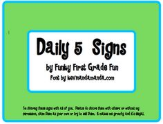 Funky First Grade Fun: Daily 5 Book Study Chapter 1