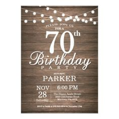 Rustic 70th Birthday Invitation String Lights Wood - rustic gifts ideas customize personalize