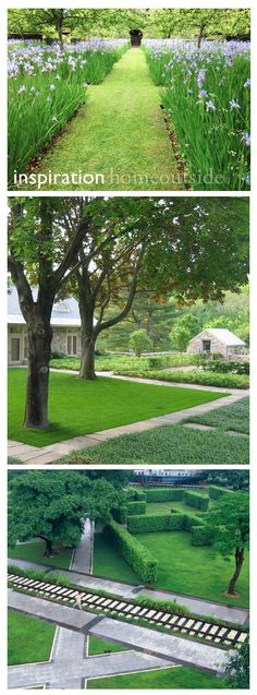 "Inspiration images for ""Crisp Angles"" Home Outside project; six different landscape design concepts"