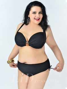 Black Solid Color High Flexibility Sexy Halter Plus Size Bikini With Widening And Thickening Lidyy1605241072