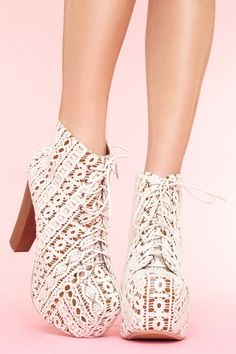 If I ever needed shoes in my life, these would be it. Jeffery Campbell Litas Ivory Crochet