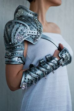 Hey, I found this really awesome Etsy listing at https://www.etsy.com/listing/194264554/silver-leather-shoulder-bracer-armor