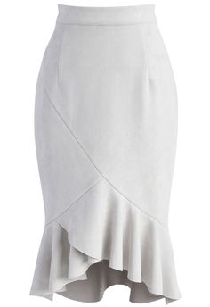 Looking Fabulous Frill Hem Suede Skirt in Grey  - New Arrivals - Retro, Indie and Unique Fashion