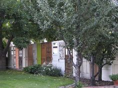 fence made from old doors and windows - Google Search