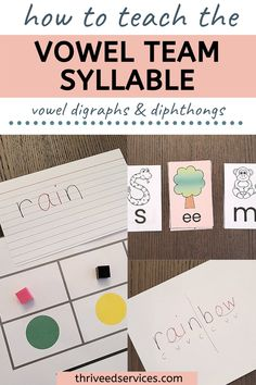 Phonics Rules, Phonics Activities, Teaching Vowels, Phonological Awareness Activities, Vowel Digraphs, Spelling Patterns, Syllable, Literacy, Corner