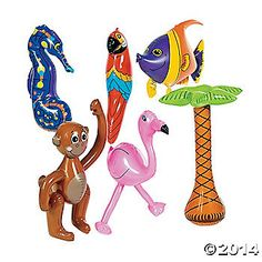 Tropical Inflatables. An easy way to create an authentic look for your next luau, these inflatable characters have tropical designs! These 23 - 26 vinyl ...