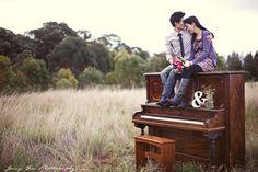 piano in a field