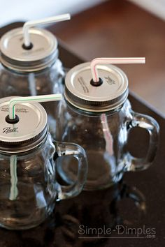 Simple Dimples: Mason Jar Lidded Cup using Grommets, love that these have handles!!