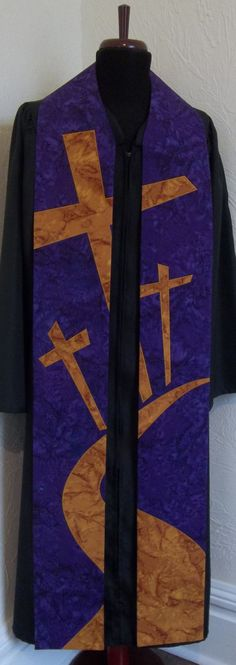 Clergy Stole for Lent -- Road to the Cross Design