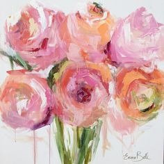 """Artist: Emma Bell Dimensions: 36""""x36"""" Original Floral Medium: Acrylic and Chalk Surface: Deep edge gallery wrapped canvas For more information email us at chri"""