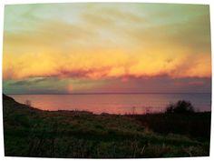 Dramatic sky over North Sea at dusk in Berwick upon Tweed