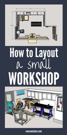 Small Workshop Layout (Space-Saving Ideas) Create a workshop floor plan that works! Learn space-saving ideas, and tricks for setting up a small woodshop in a garage, shed, or basement! Basement Workshop, Home Workshop, Workshop Ideas, Garage Workshop Plans, Workshop Design, Garage Shed, Garage Storage, Tool Storage, Garage House