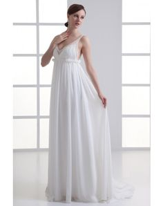 Chiffon Beading Ruffles Shoulder Straps Sweep Train Empire Wedding Dress
