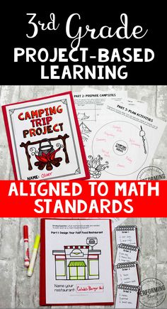 Project-based learning for 3rd grade includes a camping, fast food, toy store, and seasonal PBL. It's aligned to Math Standards and each project includes lots of math skill practice! This is great real-world math.