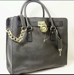 Michael Kors LG N/S Hamilton Tote Shoulder Bag Purse Saffiano Leather Black in Clothing, Shoes & Accessories | eBay