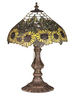 Wild H Table Lamp with Bowl Shade Louis Comfort Tiffany, Farmhouse Table Lamps, Farmhouse Lighting, Art Nouveau, Wild Sunflower, Country Lamps, Bronze Chandelier, Tiffany Glass, Glass Boxes