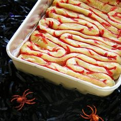 halloween intestine pastry   This is awesome!!! - You need a long bit of counter space to make this, but it's an awesome gory treat, and tasty too!