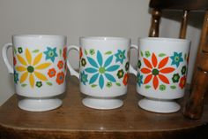 Vintage Flower Daisy Coffee Mugs Cups Great for Easter Brunch