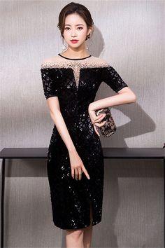 6d6021bf04e Beading Jewel Column Knee-Length Cocktail Dress