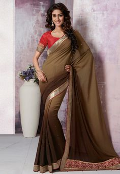 Shaded Brown Faux Georgette Saree with Blouse