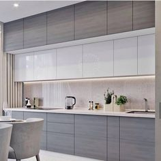 Contemporary style kitchen designs are among the methods to go. You do not require a complicated kitchen so it will be stick out, just some unique designs that can make your kitchen area the envy of the neighbors. Luxury Kitchen Design, Kitchen Room Design, Contemporary Kitchen Design, Kitchen Layout, Home Decor Kitchen, Interior Design Kitchen, Kitchen Furniture, Contemporary Style, Kitchen Ideas