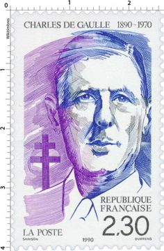 Timbre : 1990 CHARLES DE GAULLE 1890-1970 | WikiTimbres